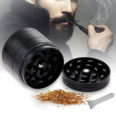 4 in 1 Magnetic 2 Inch Black Tobacco Herb Grinder Spice Zinc Alloy With Scoop US