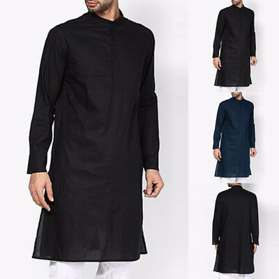 Men Ethnic Robes Long Sleeve Islamic Muslim Button Middle East Maxi Dress Kaftan