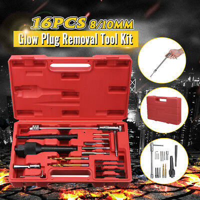16pcs Set Glow Plug Removal Remover Extractor Tool Kit Damaged 8mm 10mm US