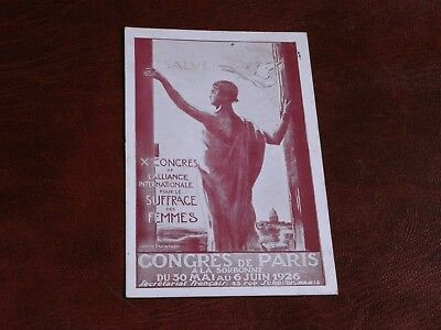 Original Advertising Suffragette Poster Postcard - Congress Of Paris 1926.