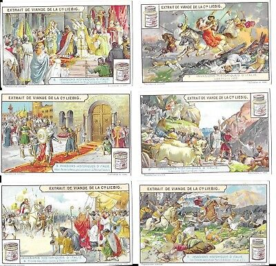 """Vintage Victorian Trade Card Set - """"Invasion of Italy"""" - J. Liebig issue."""