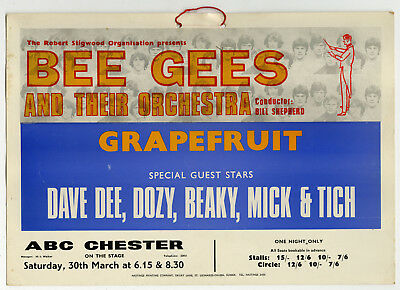 The Bee Gees Original Concer Poster / Window Card 1968 Chester UK