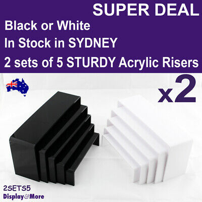 Set of 5 STURDY Acrylic Jewellery Riser Stands | Black or White | AUSSIE Seller