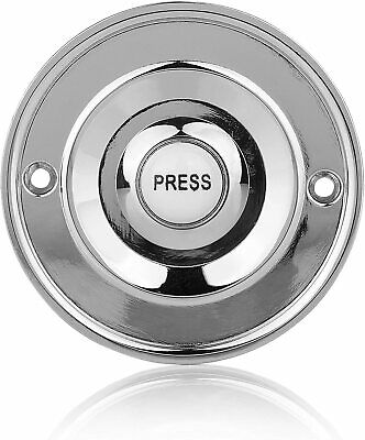 Round Chrome Door Bell Push Byron 2207P1BC Wired Circular White Press Button