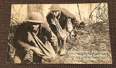 Great WW1 US Soldiers With Grenades Original Post Card
