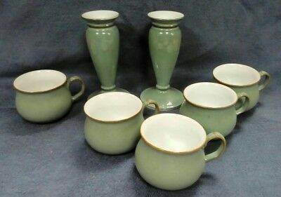 1018 Denby Pair Of Candlesticks And 5 Small Mugs Green