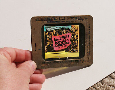 """1939 """"Scouts to the Resque"""" Jackie Cooper MOVIE AD glass slide"""