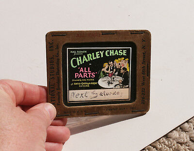 """1920s """"All Parts"""" Charley Chase Hal Roach  MOVIE AD glass slide"""