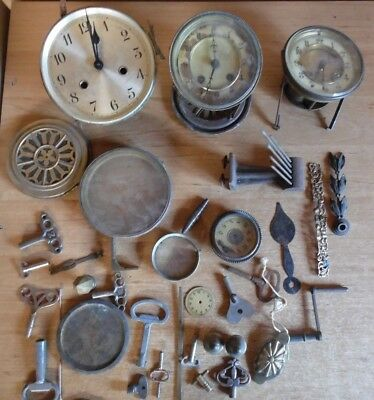 Job Lot Old Clock Movements/Keys/Parts Spares/Repairs/Crafts/Steampunk 4.5kg