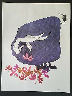 1968 Vintage Dino Kotopoulis Flower Power Poster  Bull In Flowers Original