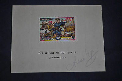 Liberia Jehudi Ashmun #312 on Card *SIGNED* by Designer Arthur Szyk