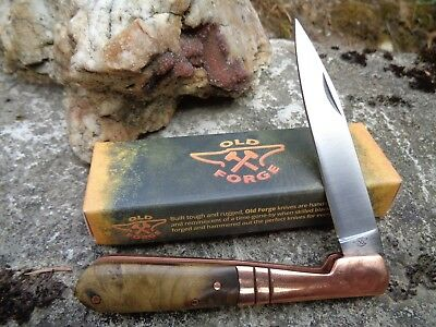 OF027 Couteau Vendetta Old Forge Copper Bolster Lame Acier Inox Manche Bois