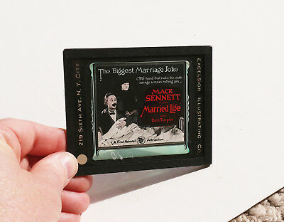 """1920 """"Married Life"""" Ben Turpin  MOVIE AD glass slide"""