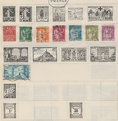 FRANCE Collection to 1f75, etc Old Pages, As Per Scan #