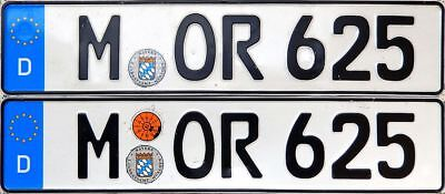 German Euro license plate pair Munich Bavaria BMW