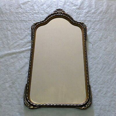 "Antique 30"" X 16"" Arched Top Ornately Carved Wood Frame Hallway Wall Mirror"