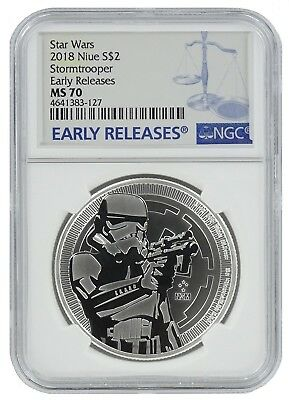 2018 Niue 1oz Silver Star Wars Stormtrooper Coin NGC MS70 Early Releases