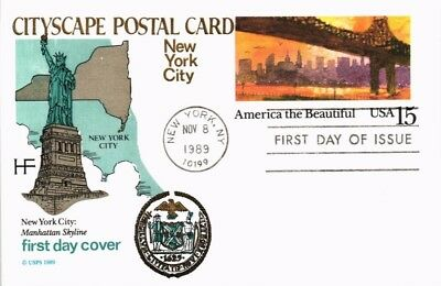 Dr Jim Stamps Us Cityscape America The Beautiful New York Fdc Farnum Postal Card