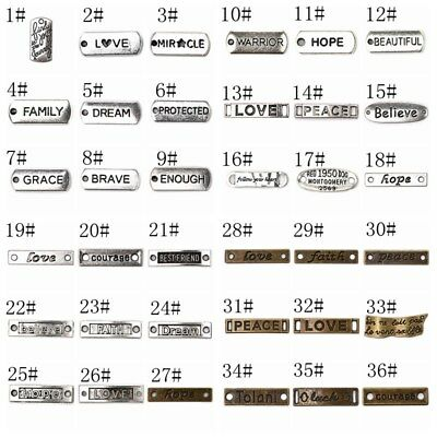5/10/20Pcs Letters Pattern Charms Plate Connector Pendant Fit Jewelry DIY Making