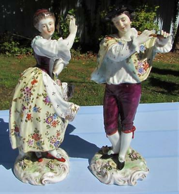 Large Pair Antique 19thC Volkstedt German Porcelain Figurines - Man and Woman
