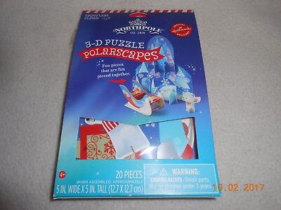 Hallmark New NorthPole 3D polarscapes 20 piece puzzle Snowflake Sleigh Christmas