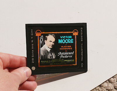 1910s/20s Victor Moore MOVIE AD glass slide