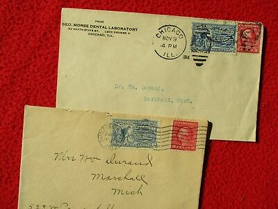 1913-14 (2) Dr. William Durand Marshall,Michigan Postmarkings,Stamps,Covers