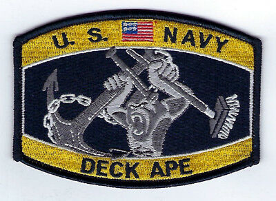 Deck Ape Boatswain's Mate Bm Hat Patch Uss Pin Up Us Navy Veteran Enlisted Gift