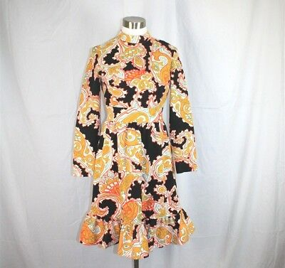 Vintage Womens Blk/Wt/Orange/Yellow Paisley LS Mock Neck Midi 60's Flounce Dress