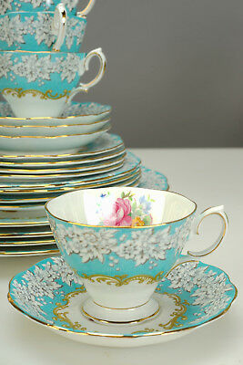 Royal Albert Bone China 20-Piece Set 4-Place Settings Turquiose Blue ENCHANTMENT