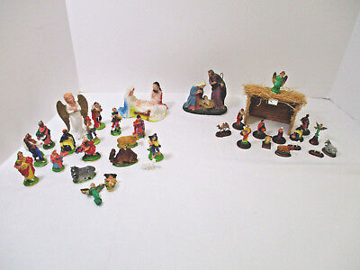HUGE LOT OF Vintage Nativity Christmas Figurines Paper Mache Composition Plastic