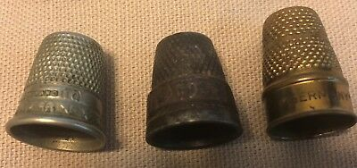 3 Vintage Sewing Thimbles Toledo, W. Germany, and England