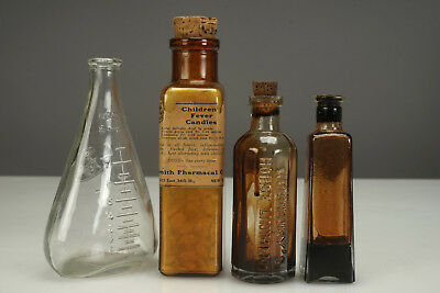Lot of 4 Vintage Antique Medicine Bottles Children Fever Candies Horse Linament