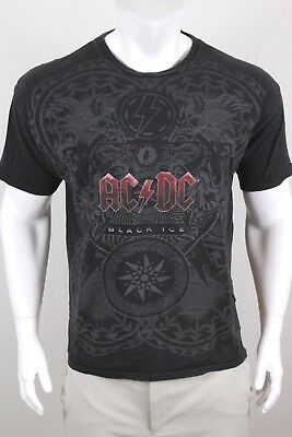 AC/DC Mens Black Ice Short Sleeve Pullover Graphic T Shirt Size XL