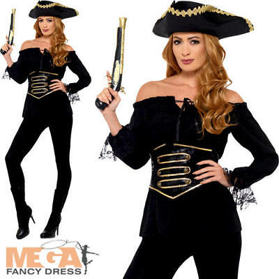 Deluxe Black Pirate Shirt Ladies Fancy Dress Caribbean Adults Costume Accessory