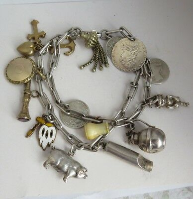 Antique VICTORIAN/EDWARDIAN Mixed Charm BRACELET