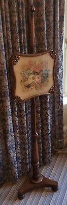 Victorian Rosewood Floral Tapestry pole screen