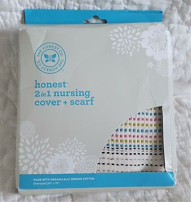 NEW The Honest Co 2 in 1 Nursing Cover + Scarf Wrap Multi-Colored Thread Organic