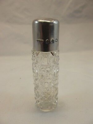 HM Silver Top Scent Bottle - Birm 1901 M Bros - Glass Body
