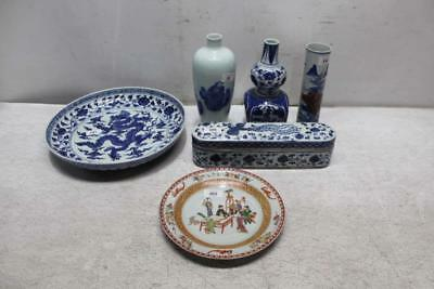 Lot Of Assorted Asian Pottery Pieces White/Blue