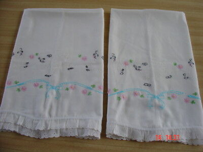 "Pair of  Vtg Pillowcases ~ Little White Lambs ~ Hand Embroidered 20"" x 29"""