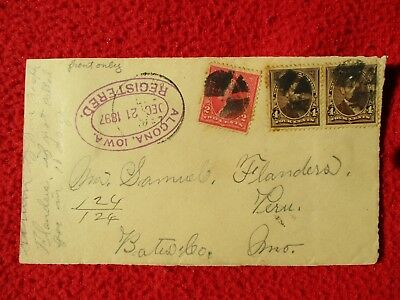 1897 Algona,Iowa Peru,Missouri Flanders family,Registered Stamps,Cover