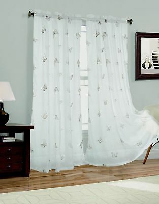 9c5e6b56284 New 2 Panel Butterfly Embroider Sheer Voile Window Curtain Drapes 54