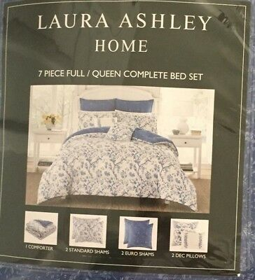Laura Ashley Elise Navy 7 Pc. Full/Queen Comforter Set NWT