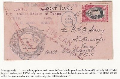 1939 TONGA TIN CAN MAIL TO R DENNY NUKUALOFA 1d JUBILEE STAMP W QUENSELL MESSAGE
