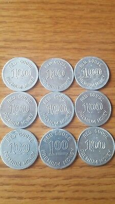 1920-30s Era Lot of 9 $1.00 tokens Red Goose Shoes coins B