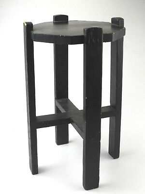 Antique Solid Oak Plant Stand Side Table Mission Styling Old Paint Layers STURDY