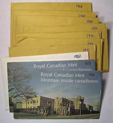 Lot of TEN Canada 6 coin mint sets - 1968 to 1974