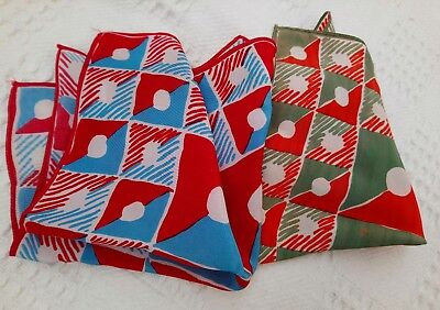 BJB, 2 x vintage red blue and green silk mens handkerchiefs pocket squares