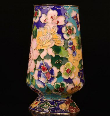 Cloisonne Hand-Carved Flower High-Grade Gift Chinese Collectible Pen Pot Jar